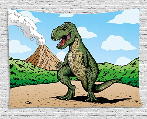 (Ambesonne Dinosaur Tapestry, Giant Lizard T-Rex on Active Volcano Untouched Jungle Backdrop, Wall Hanging for Bedroom Living Room Dorm, 80 W X 60 L Inches, Brown Blue)