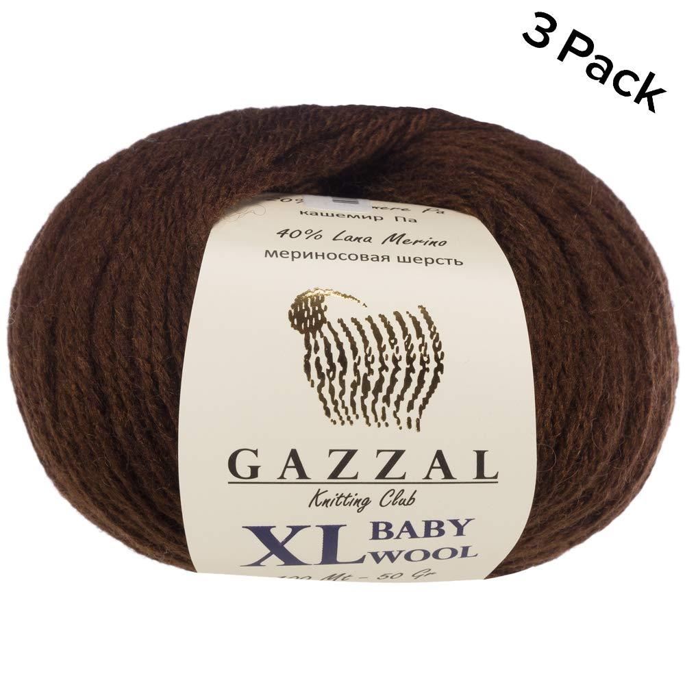 Super Soft Ball Gazzal Baby Wool XL Total 5.28 Oz // 328 Yrds Green-814 100m 50g 40/% Lana Merino 20/% Cashmere Type Polyamide 3 Pack Each Ball 1.76 Oz Medium-Worsted Yarn // 109 Yrds