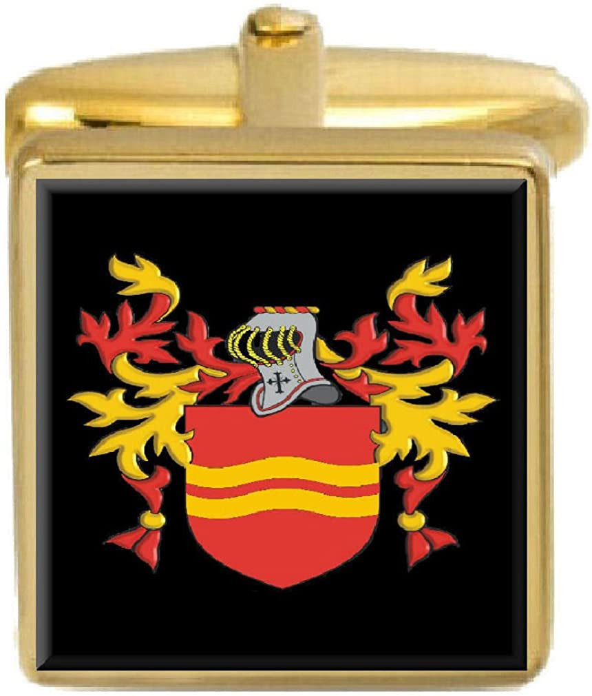 Mc Select Gifts Awley Ireland Family Crest Surname Coat Of Arms Gold Cufflinks Engraved Box