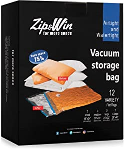 Zip&Win Vacuum Storage Bags 12 Pack Variety (3 x S, 3 x M, 3 x L, 3 x XL) 16''x24'', 20''x28'', 24''x32'', 28''x40'' Space Saver Bags for Seasonal Clothes, Duvets, Pillows, Blankets