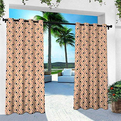Argyle Thermal - Hengshu Argyle, Thermal Insulated Water Repellent Drape for Balcony,Diagonal Stripes and Rhombuses Geometric Composition Pastel Colors, W120 x L108 Inch, Peach Navy Blue Pale Pink