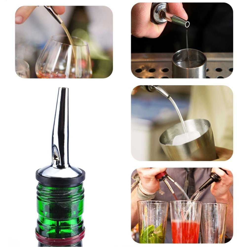 Stainless Steel bottle spout and Liquor Pourers Dust Caps Covers 24 Pack Liquor Pour Spouts Set