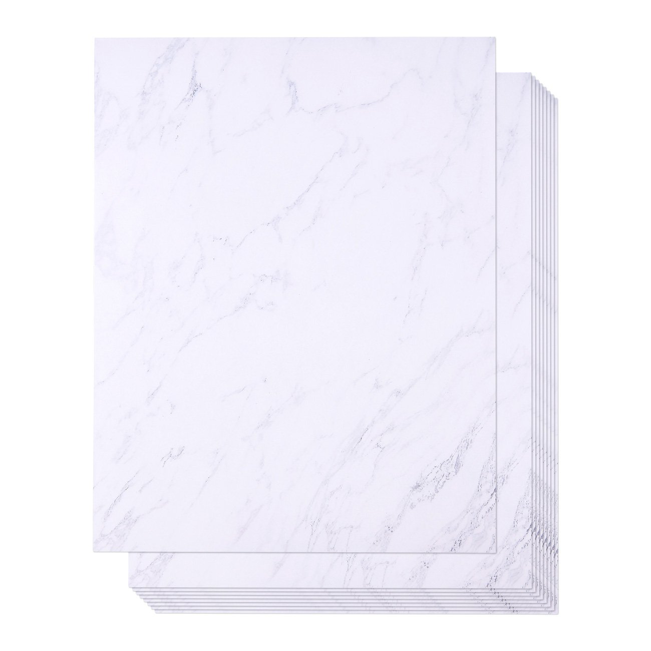 48 Pack Marble Stationery Paper - Letterhead - Decorative Design Paper - Double Sided - Printer Friendly, 8.5 x 11 Inch Letter Size Sheets Juvale