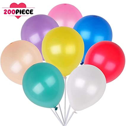 Amazon 200 Countpack Balloons 10 Multicolor Thicken Latex
