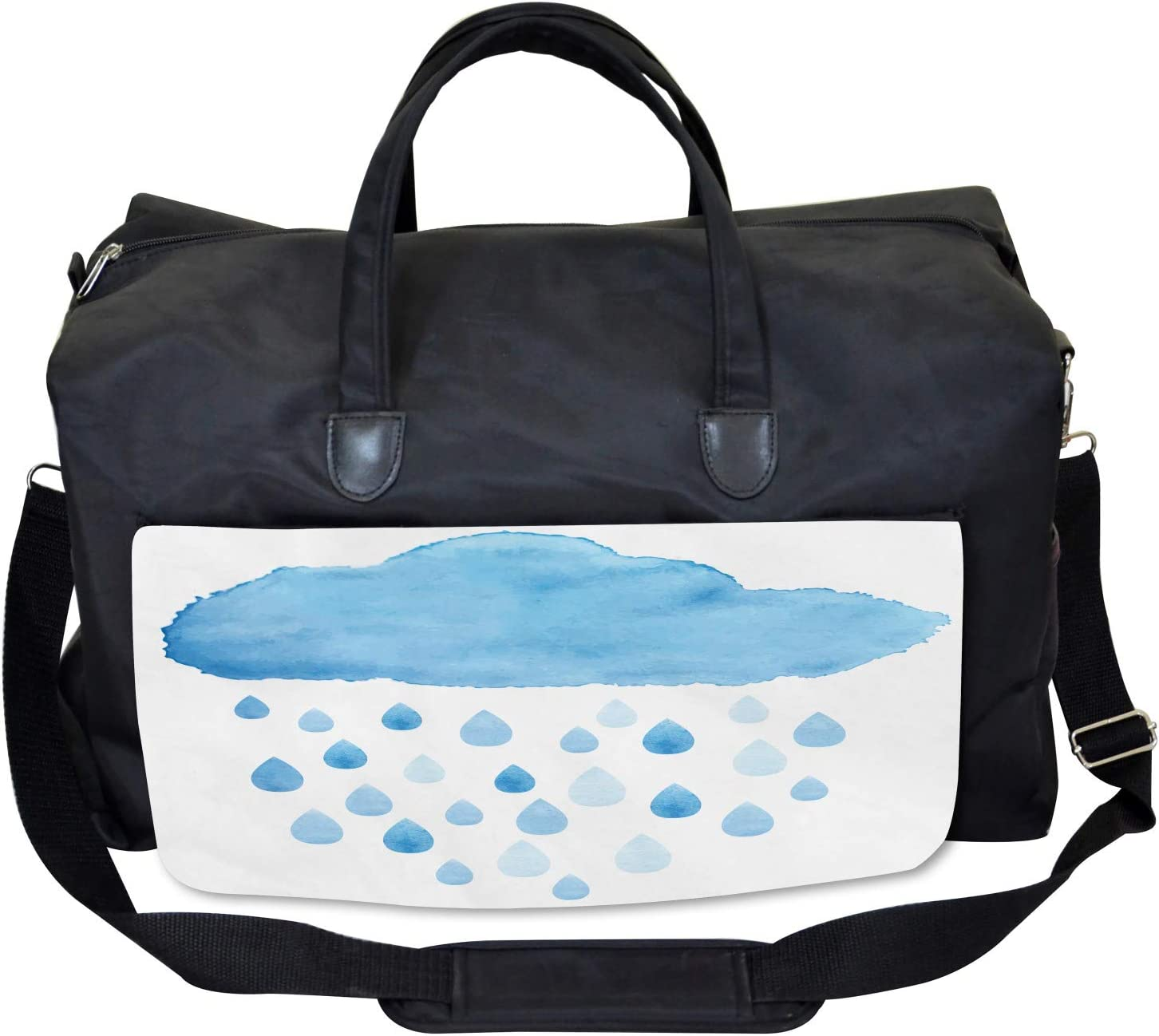 Rain Drops and Cloud Ambesonne Blue White Gym Bag Large Weekender Carry-on