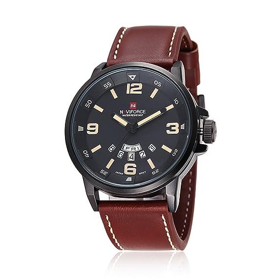 Para hombre Classic NAVIFORCE sumergibles de cuarzo reloj analógico Military (marrón): Amazon.es: Relojes