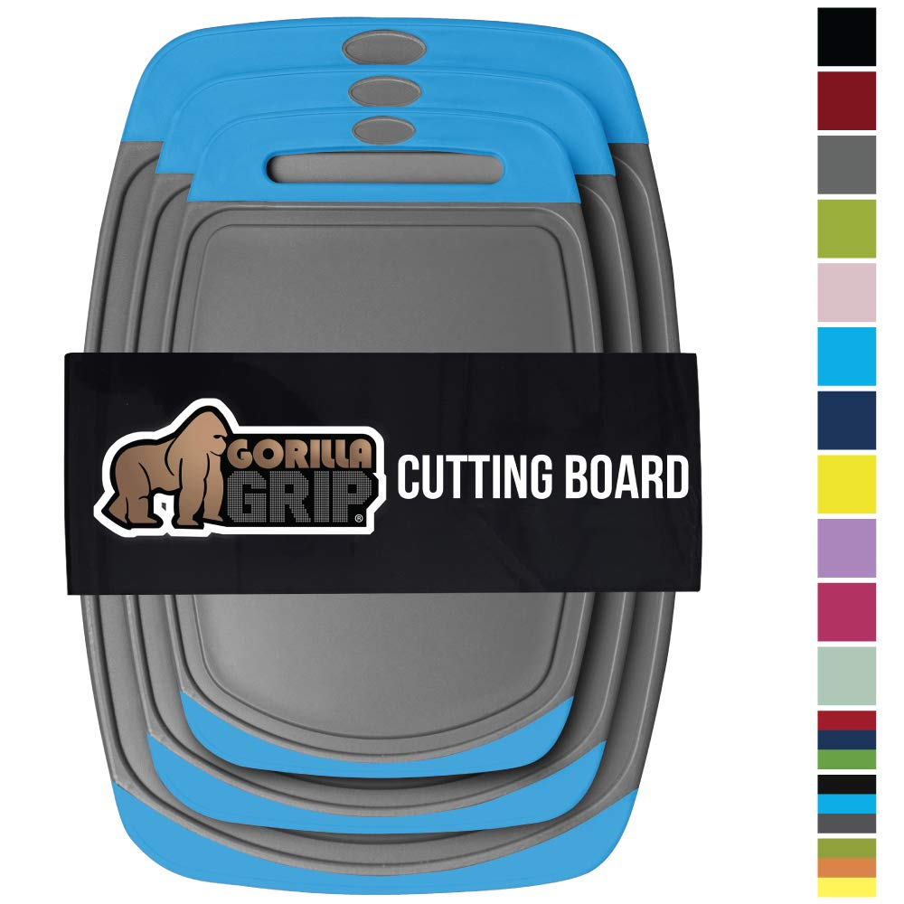 Gorilla Grip Original Reversible Cutting Board, 3 Piece, BPA Free, Juice Grooves, Larger Thicker Boards, Easy Grip Handle, Dishwasher Safe, Non Porous, Extra Large, Kitchen, Set of 3, Gray Aqua