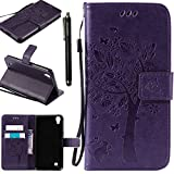 LG X Power Case, LG K6P Case, Linkertech [Kickstand Feature] PU Leather Wallet Flip Pouch Case Cover with Wrist Strap & Card Slots for LG X Power (Purple)