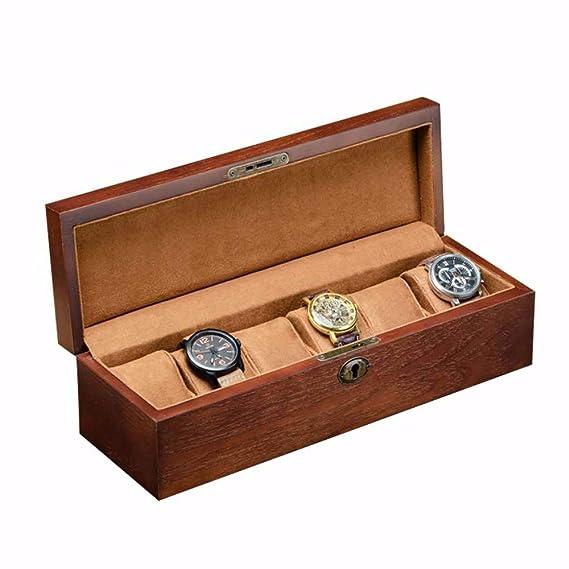 Hcwlxjy Cajas para Relojes de Madera Piano Paint 6 Ranuras ...