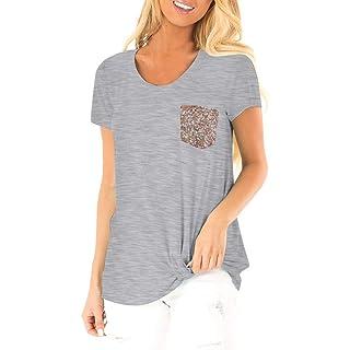 Siswong Maglietta Donna Elegante Maniche Corte con Scollo A V T-Shirt Donna con Paillettes Bluse e Camicie Donna Eleganti Camicetta di Tasca Tumblr Ragazza Magliette Donna Estive Tops