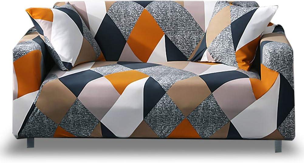 HOTNIU Funda Elástica de Sofá Funda Estampada para sofá Antideslizante Protector Cubierta de Muebles (Cuatro Plazas, Modelo_MF)