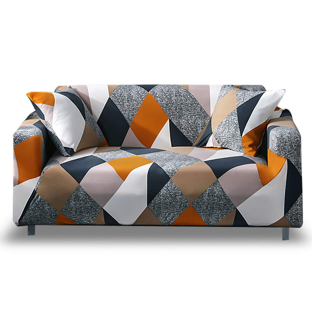 HOTNIU 1-Piece Fit Stretch Sofa Covers - Polyester Spandex Printed Sofa Slipcovers - Furniture Cover/Protector for 3 Seat Couch with Elastic Bottom & Anti-Slip Foam (Sofa, Pattern #MF) by HOTNIU