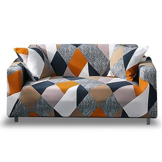 HOTNIU Funda Elástica de Sofá Funda Estampada para sofá Antideslizante Protector Cubierta de Muebles (Tres Plazas, Modelo_MF)