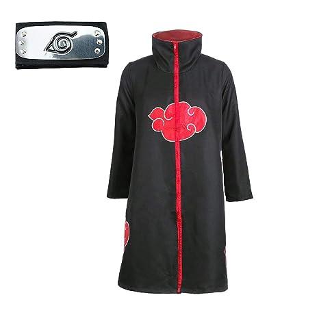 DFL Trajes de Akatsuki Halloween Cosplay Disfraces Capa Larga Cosplay de los Akatsukis Itachi Vestido Akatsuki Cinta de Cabeza Venda para Cosplay ...
