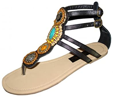94023ef51a3 G4U-EA E7A200L Women s Gladiator Sandals Beaded Strappy T-Strap Thong  Adjustable Strap Buckle
