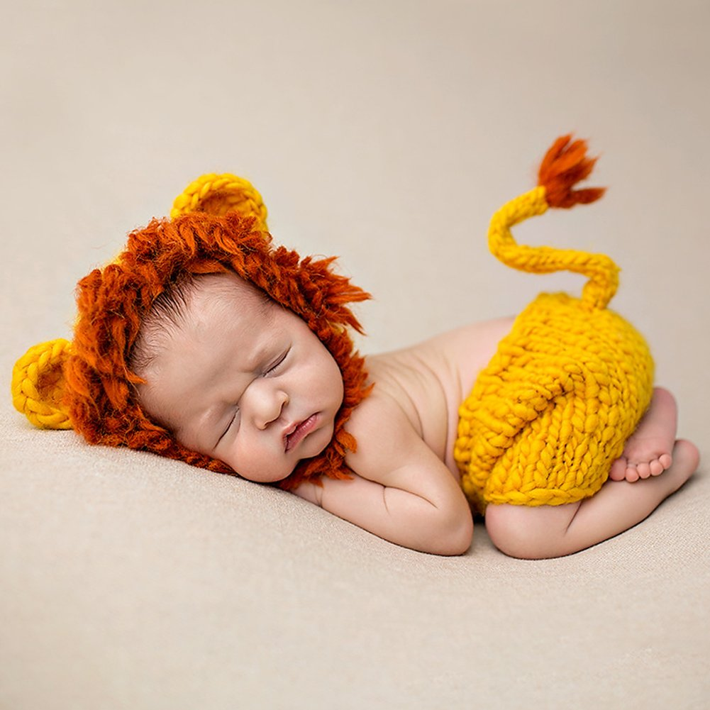 Ateid Neugeborene Fotografie Kostüm Kreativ Baby Fotoshooting Set Gelb Löwe