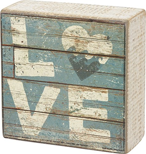 "Primitives by Kathy Love - Aqua Marine Mini Beach Plankboard Print Sign with Heart - 4-in - Colorful Coastal style miniature sign with the word ""Love"" and heart with waves within making up the ""O"" in Love - living-room-decor, living-room, home-decor - 61saK 4GFWL -"