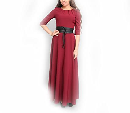 Collocation-Online Solid Color Half Sleeve Thin Long Dress Casual Russian Vestidos,as Picture