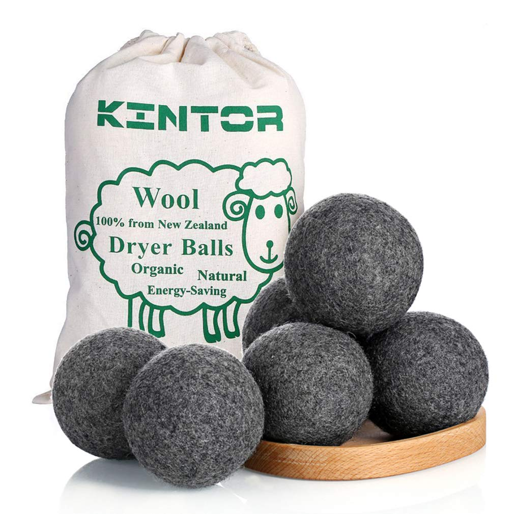 Wool Dryer Balls Dark Grey 6 Pack XL, 100% Organic Premium New Zealand Wool, 2.95'' Diameter Reusable Natural Fabric Softener Alternative, Reduce Wrinkles & Drying Time, Handmade by Kintor