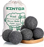 Wool Dryer Balls Dark Grey 6 Pack XL, 100% Natural New Zealand Wool to Core, Reusable 3