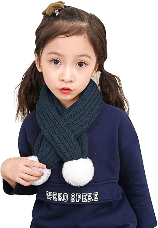1-10 Y Kids Toddlers Scarf Wrap Winter Warm Knit Scarves Fashion Solid Color Thick Neck Warmer Neckerchief