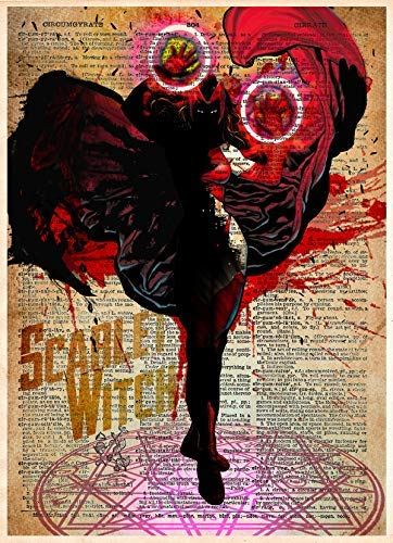 Scarlet Witch original superhero art print on vintage dictionary page ()