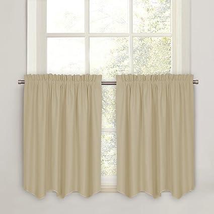 PONY DANCE 36u0026quot; Curtain Valances   Room Darkening Half Window Tiers  Home Decoration Rod Pocket