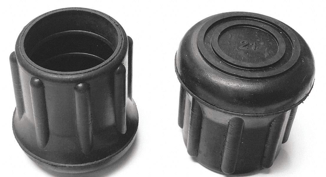 Round Slip-On Furniture Protective Leg Tips, Black Rubber, 1-1/8'' Leg Outside Dia, 10PK - pack of 5