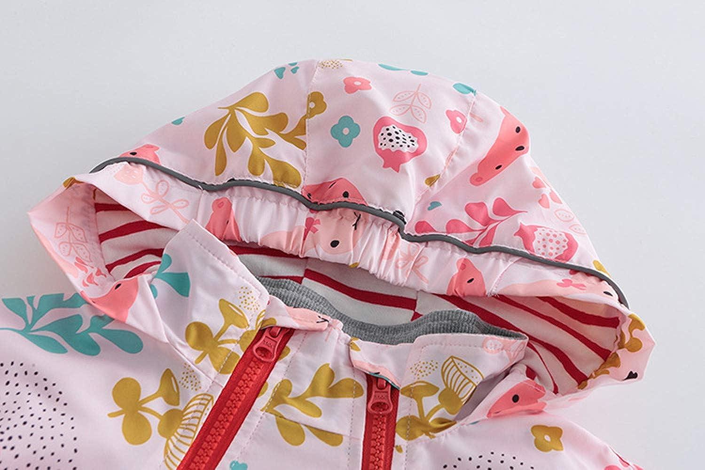 LJYH Girls Hooded Outwear Flower Pattern Windbreaker Zip Jacket for 6-14years