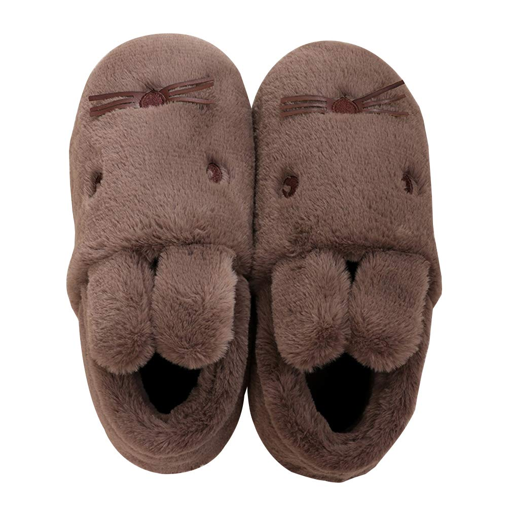 Men's Indoor Rabbit Slippers Non-Slip Plush Slip-on Shoes Ankle Boots Dark Coffee Large