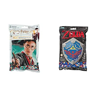 Perler 80-11138 Harry Potter Pattern and Fuse Bead Kit, x 11'', 3503pc, Multicolor & 80-11125 Nintendo's The Legend of Zelda Hylian Shield Pattern and Fuse Bead Kit, 10.75'' x 13'', 3503pc: Toys & Games