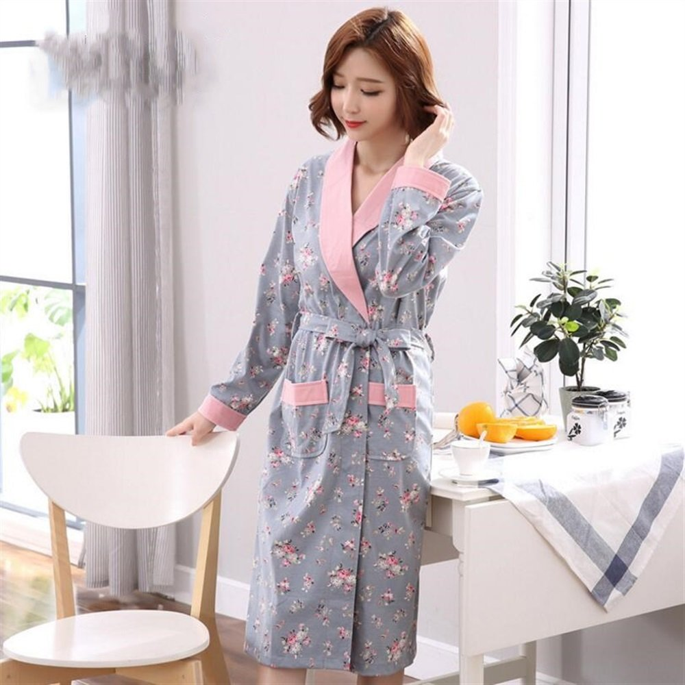 Soft Cozy Women Girls Long Sleeves Flowers Pattern Bathrobe Cotton Nightgown Pajamas Bathrobe Bathrobe for Women