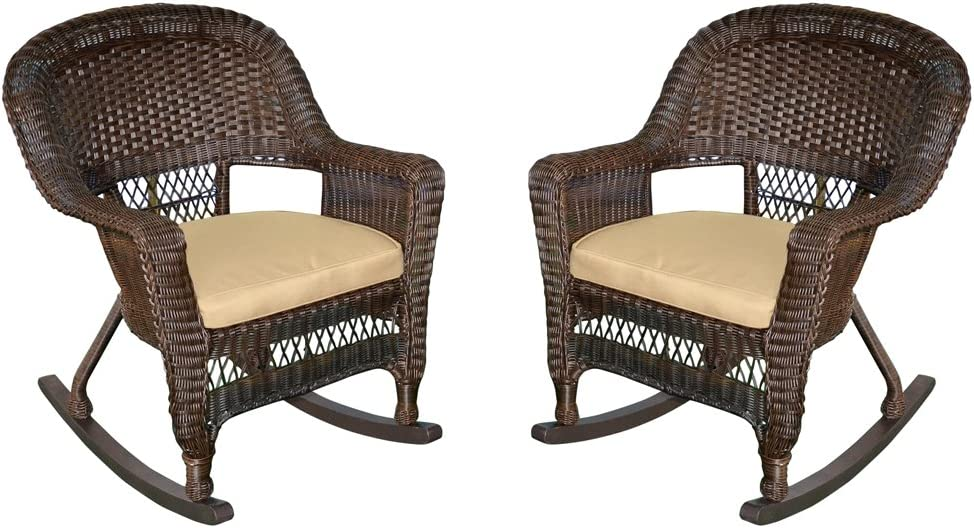 Jeco Rocker Wicker Chair with Tan Cushion, Set of 2, Espresso: Furniture & Decor