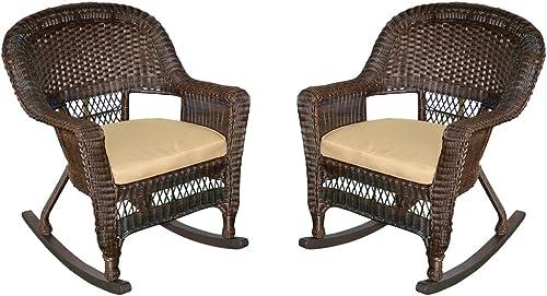 Jeco Rocker Wicker Chair with Tan Cushion, Set of 2, Espresso