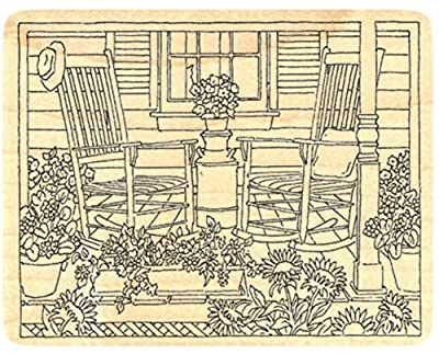 """{Single Count} Unique & Custom (4 1/2"""" by 3 1/2"""" Inches) """"Cottage Porch & Rocking Chairs"""" Rectangle Shaped Genuine Wood Mounted Rubber Inking Stamp"""