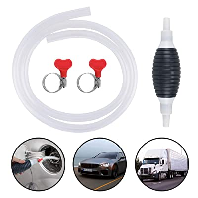 KATUMO Newest High Flow Gasoline Siphone Hose, Largest Siphon for Water, Gas Oil Water Fuel Transfer Siphon Pump, Portable Widely Use Hand Fuel Pump, Fuel Transfer Pump with 1.5M Durable PVC Hoses: Automotive