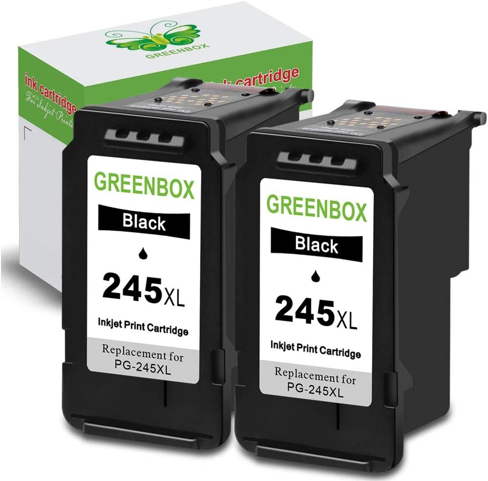 GREENBOX Remanufactured 245XL Black Ink Cartridge Replacement for Canon PG-245 PG-245XL PG 245 245XL 245 XL for Canon PIXMA MX492 MX490 MG2920 MG2420 MG2520 MG2522 IP2820 (2 Black)