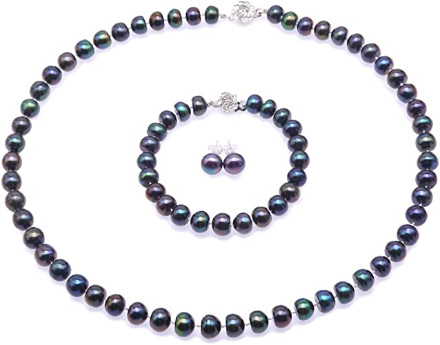 Single Strand Peacock Blue Freshwater Pearl Necklace and Bracelet Set 9-10mm