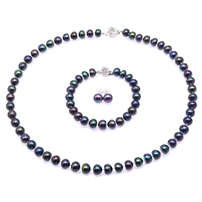 JYX Pearl Necklace Set 8-9mm Dark-blue Freshwater Pearl Necklace Bracelet and Earrings Jewelry Set omvot