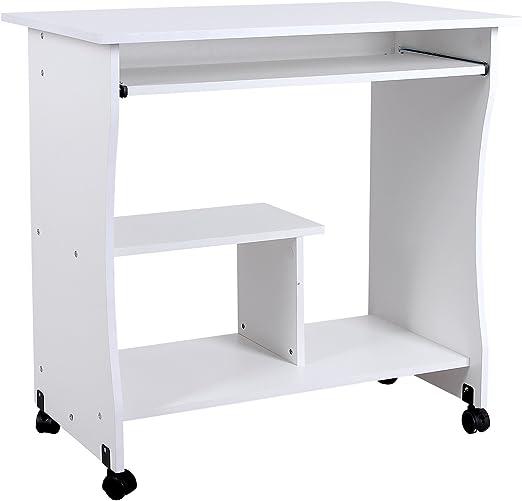VASAGLE Mesa de Ordenador, Escritorio de Oficina con Ruedas, Mesa ...