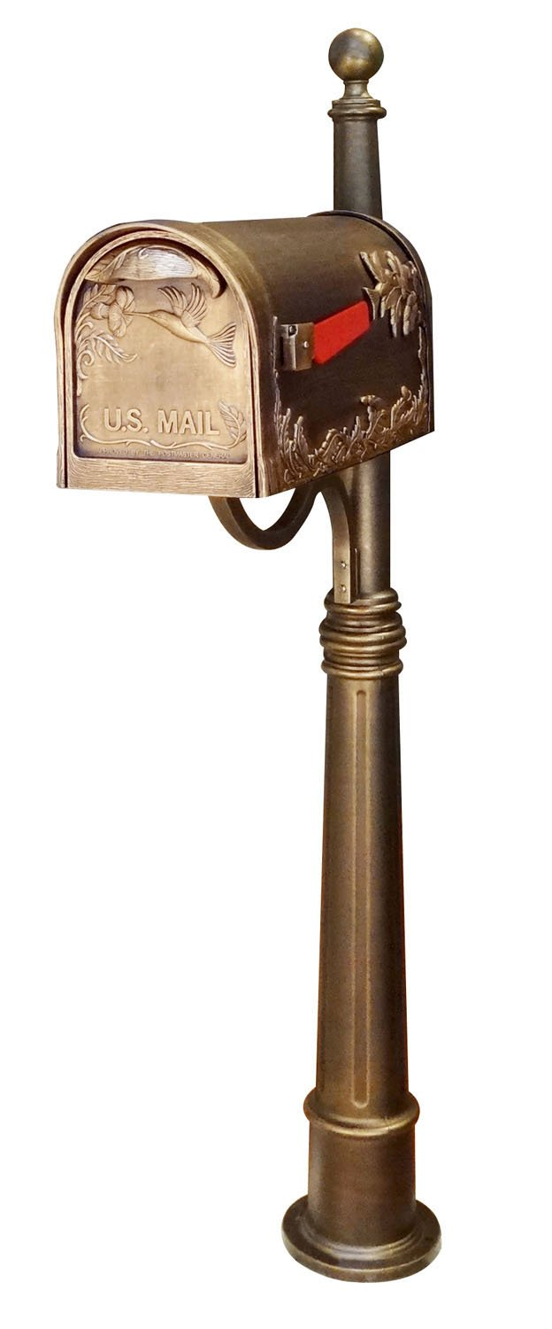 Special Lite Products SCB-1005-SPK600-BRZ Hummingbird Curbside Mailbox with Ashland Mailbox Post Unit - Hand Rubbed Bronze