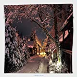 Vipsung Microfiber Ultra Soft Hand Towel-Landscape Night Lights And Snowy Street Winter Scenery Peaceful Outdoors Image Light Pink And White For Hotel Spa Beach Pool Bath