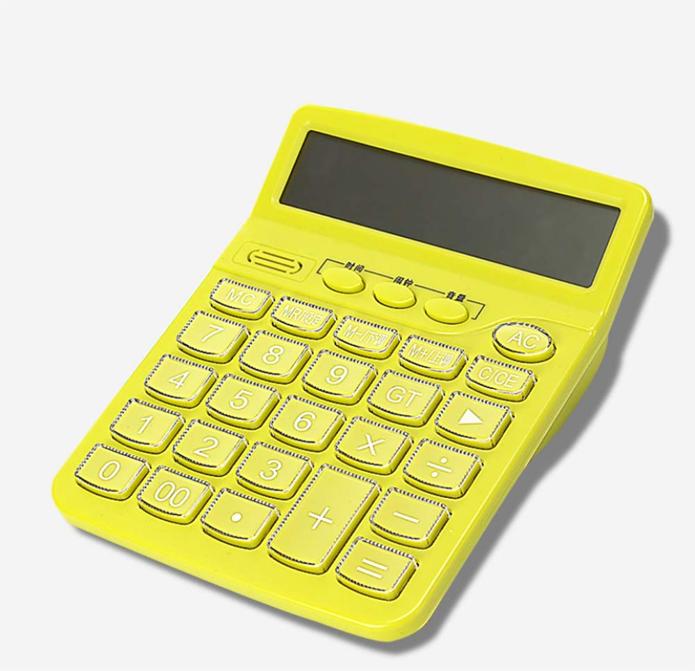 CalculatorCute Voice Computer  Plastic Button  Real Human Pronunciation  12 Digits Large Screen Display Light and Convenient (Green 046)