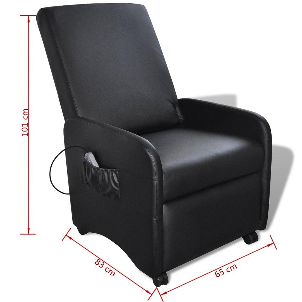 vidaXL Sillón de masaje reclinable cuero artificial, negro ...