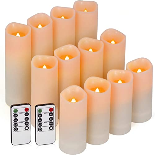 Enido Flameless Candles Led Candles Pack of 12 Battery Candles D2.15 x H4 5 6 Waterproof Outdoor Indoor Candles with 10-Key Remotes and Cycling 24 Hours Timer Plastic
