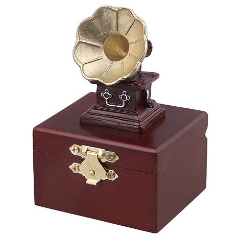 yibuy 11 x 7,5 x 6,5 cm rojo madera clásica cuerno gramófono ...