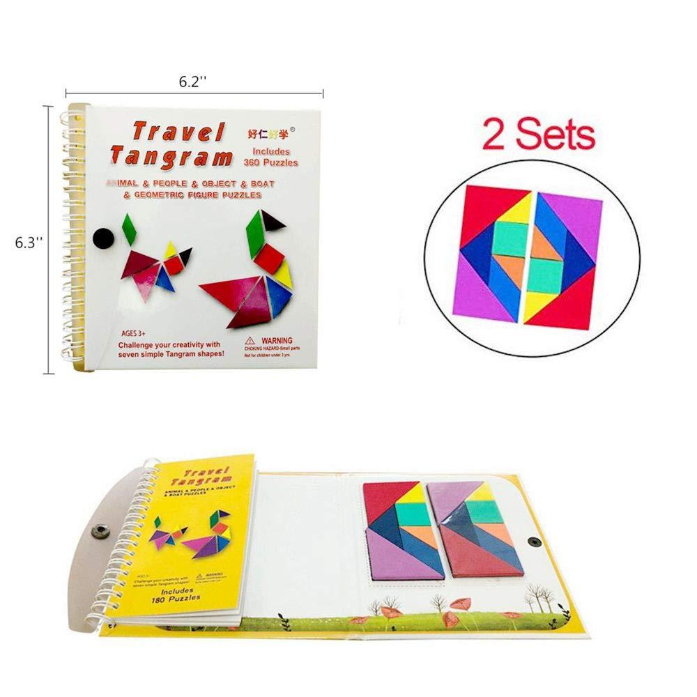 SZLhappyboy タングラムゲーム 360マグネットパズル トラベルゲーム ジグソーパズルソリューション質問 子供 大人 チャレンジIQブック 教育玩具ギフト 7つのシンプルな磁気カラフル形状 [タングラム2セット]   B07MZ4L75C