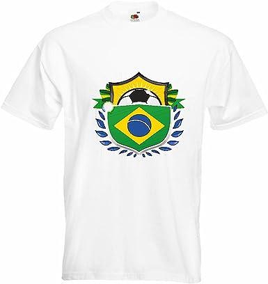 T-Shirt Camiseta Remera Brasil Brasil FÚTBOL FÚTBOL Alemania 2018 Copa Mundial Alemania World Champion Rusia Rusia semifinales Cuartos de Final en Blanco: Amazon.es: Ropa y accesorios