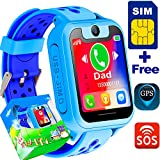 Hyanwoo Kid Smart Watch SIM Card Included GPS Tracker Phone Watch With SOS Anti-lost Child Digital Game Sport Watch Parent Control App by iOS Android,Girls Boys School Birthday Holiday Travel Gift