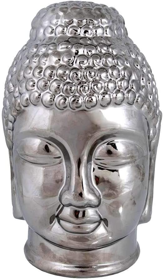 Amazon Com Thehomemind Ceramic Buddha Head Figurine White And Silver Buddha Head Statue Meditation Yoga Studio Decor Ethnic Indie Decor Zen Garden Thai Home Decor Silver Home Kitchen